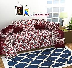Aerohaven 3D TC Printed 8Pc Diwan Set(1 Single Bedsheet, 2 Bolster Covers, 5 Cushion Covers)