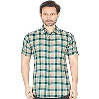 GLOBALRANG Men's Checkered Casual Half Sleeve Shirt