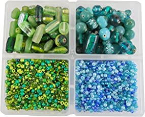 eshoppee 300 gm Handmade lampwork Fancy Furnace Glass Beads Mixing with 8/0 Seed Beads for Jewellery Making Art and Craft DIY kit