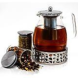 JOYTASTE Dzbanek do herbaty ze szkła z patyczkami – designerski sprzęt do herbaty | wyjmowany wkład sitowy ze stali nierdzewn