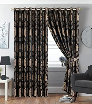 New Luxury Pair Eyelet Fully Lined Ring Top Jacquard Pair Curtains ...