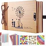 Album avec couverture en bois « Pissenlit » pour photos ou scrapbooking, livre d'or de mariage ou album de voyage + 5 autocol
