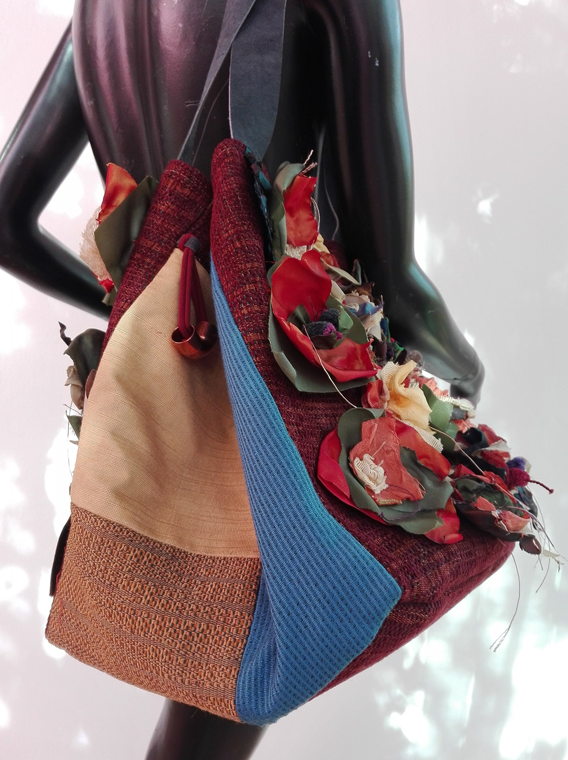 La Bottega di Malù - Carolina, Tote Bag Made in Italy in velvet and cotton with floral patchwork, measures 32x35x25 cm. - handmade-bags