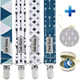 Dodo Babies Dummy Clips – 4 pcs Pacifier Clips with Dummy Holder – Modern Dummy Clip Pack for Boys and Girls – Premium…