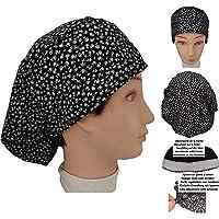 Cappello sala operatoria donna FIORI NERI per capelli lunghi Asciugamano assorbente sulla fronte facilmente regolabile…