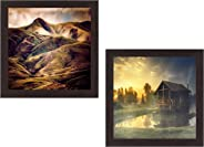 Wens 'Inspiring Nature' UV Textured Wall Painting (Synthetic Wood, 35 cm x 71 cm x 2.5 cm, Brown, Set of 2)