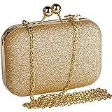 Beautyshow Clutch Glitzer, Damen Abendtasche Gold Clutch Elegante Handtasche Kette Umhängetasche für Braut Hochzeit Party Abs