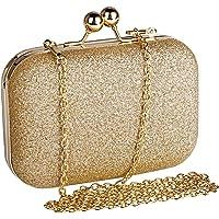 Beautyshow Clutch Glitzer, Damen Abendtasche Gold Clutch Elegante Handtasche Kette Umhängetasche für Braut Hochzeit…