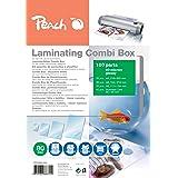 Peach PPC500-03A lamineringsfickor ekonomiuppsättning 100 filmer | A4, A5, A6 och visitkort | 2 x 80 mikrofon | glansig finis