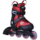 K2 Inline Skates Cadence Mehrfarbig Rot - ABEC 3 Kugellager Softboot - Größe Verstellbar 32-37- Kinder Inlineskates