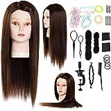 xnicx Tête à coiffer Tête d'exercice Tête d'étude à coiffer 90% Cheveux naturels Coloris brun Tête à coiffer d…