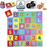 KIDUKU® 86 teilige Puzzlematte TÜV Rheinland Zertifiziert Kinderspielteppich Spielmatte Spielteppich Schaumstoffmatte Kinderteppich, Zahlen und Buchstaben, Maß je Matte ca. 31,5 x 31,5 cm