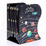 R H lifestyle Metal Bookends Decorative Desk Accessories Organizer Creative Adjustable Book Shelf for Kids School Home Office
