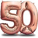 envami Palloncini Compleanno 50 Anni Oro Rosa 101 CM I Palloncino Numero 50 I Numeri Gonfiabili Compleanno I Decorazioni Comp