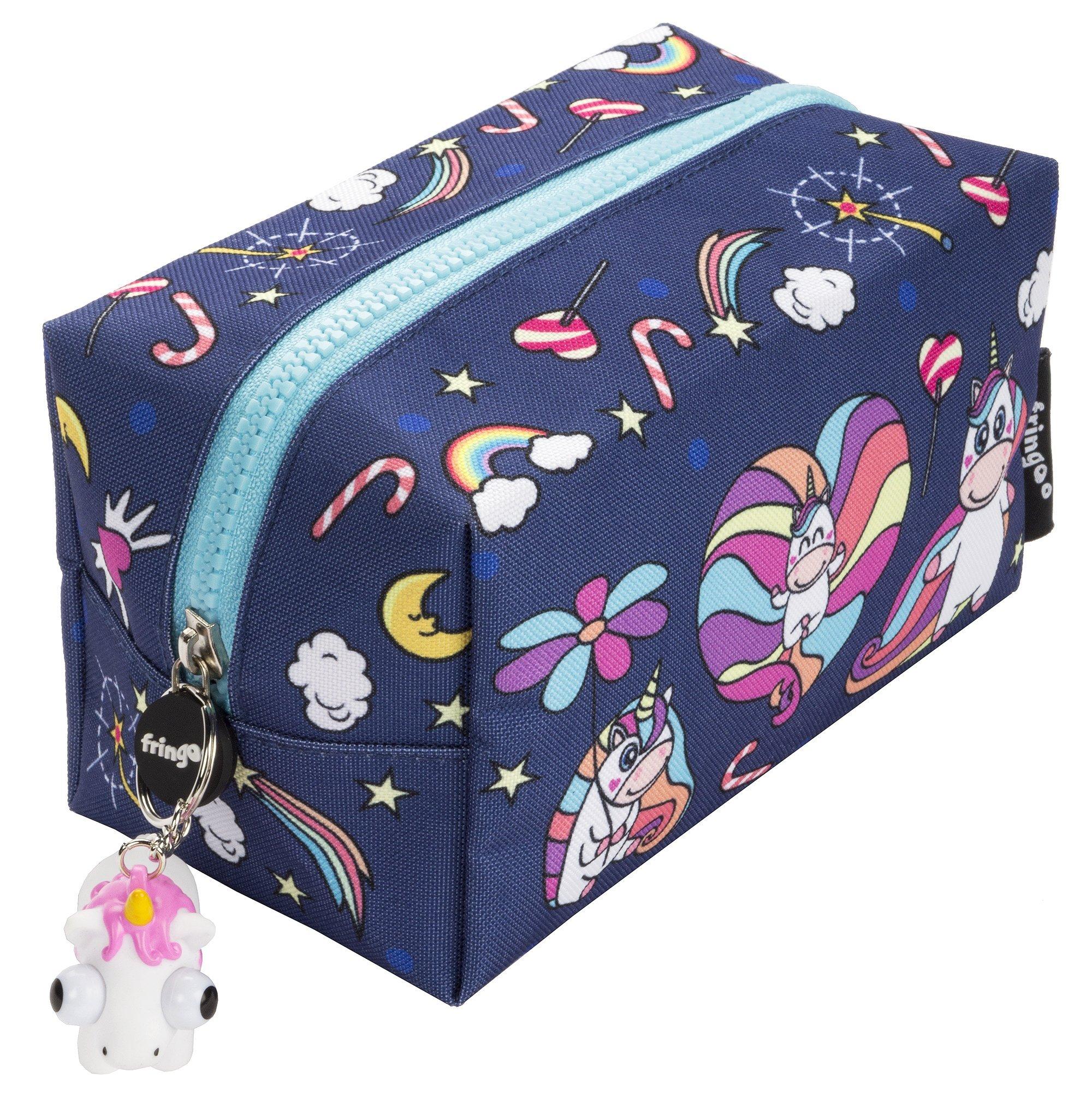 Estuche grande cuadrado para lápices con cierre de cremallera de Fringoo® , color Believe In Unicorns Large