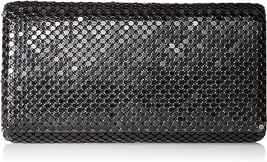 Jessica McClintock Metal Mesh Roll Evening Bag,Black,One Size