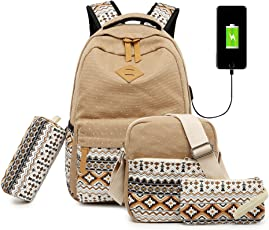 Vezela 4Pc Combo Of Laptop Bag With Usb Charging Feature With Lunch Bag, Pencil Case & Pouch (Camel)
