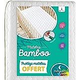 Babysom - Matelas Bébé Bamboo - 70x140 cm | OFFERT : 1 Protège Matelas Imperméable | Viscose au toucher Ultra Doux | Sans Tra