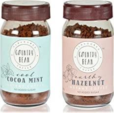Country Bean Instant Coffee Powder | Hazelnut | Cocoa Mint Flavours Combo Pack of 2 X 60 g