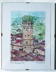Guinigi-Turm in Lucca-Originaldruck vom Künstler Davide Pacini Dimension cm 20x29x0,1 cm + Rahmen pro Tag Dimension cm 24x30 cm, Material des Drucks ist Karton 300mg/mq-Made in Italy, Toskana Lucca.