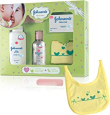 Johnson's Baby Care Collection with Organic Cotton Bib & Baby Comb (5 pc Gift Set)