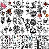 Yazhiji 32 Stuks Partij Rijke Tattoo Patronen Totem Bloem Rose Tijdelijke Tattoo Stickers voor Vrouwen Mannen Jongens Meisjes