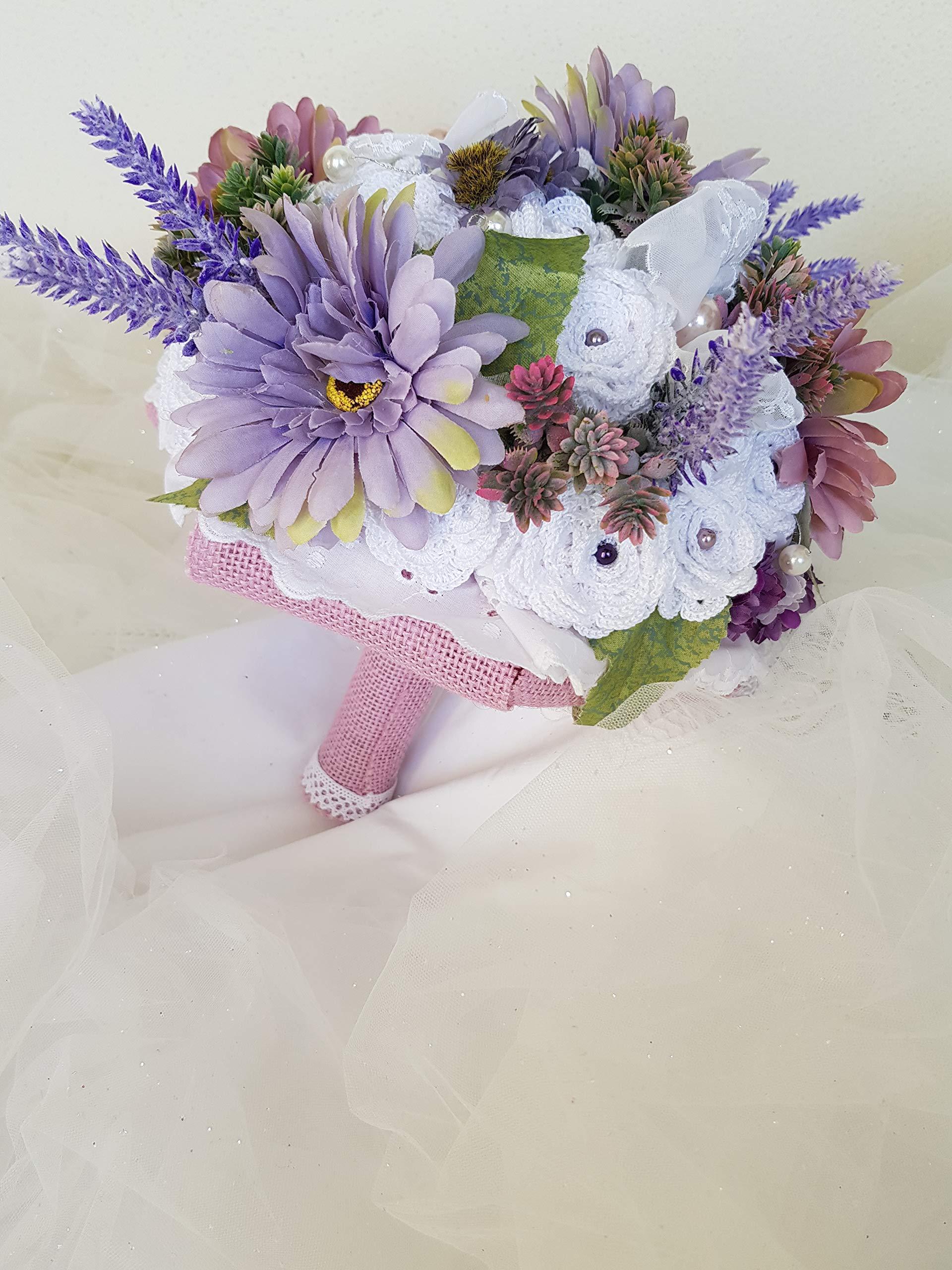 Ramo de novia tiffany hecho enteramente a mano, compuesto de flores artificiales rosas de ganchillo, cintas de raso…