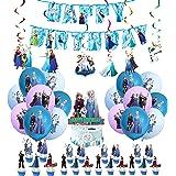 Decoración de Cumpleaños Frozen Globos Pancarta de Feliz Cumpleaños Adorno para Tarta Congelada Remolinos Colgantes para Niño