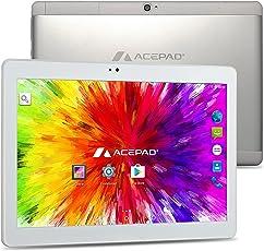 "ACEPAD A121 (10.1"") 3G Tablet PC, 2GB RAM, 64GB Speicher, Dual-Sim, Android 7.0, IPS HD 1280x800, Quad Core CPU, Wifi/WLAN/Bluetooth, USB/SD (Alu-Weiß/Silber)"