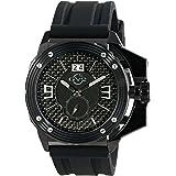 GV2 by Gevril Grande Mens Swiss Quartz Black Silicone Strap Watch, (Model: 9401)