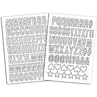 Toga - Tavole di Lettere termoadesive, Tessuto, Blanc - Majuscule Bâton, 15.5 x 27.5 x 0.1 cm