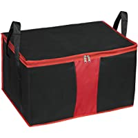 Storite Nylon Multi-Purpose Heavy Duty 110 litres Super Size Large Clothing Storage Organiser/Toys Storage Bag/Stationery Paper Storage Bag - Black/Red (63.5 x 45.7 x 38 cm)