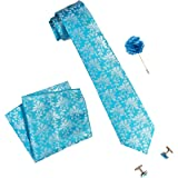 nu-Lite Men's Floral Design Micro Polyester Casual Formal Printed Necktie Set with Pocket Square, Lapel Pin and…