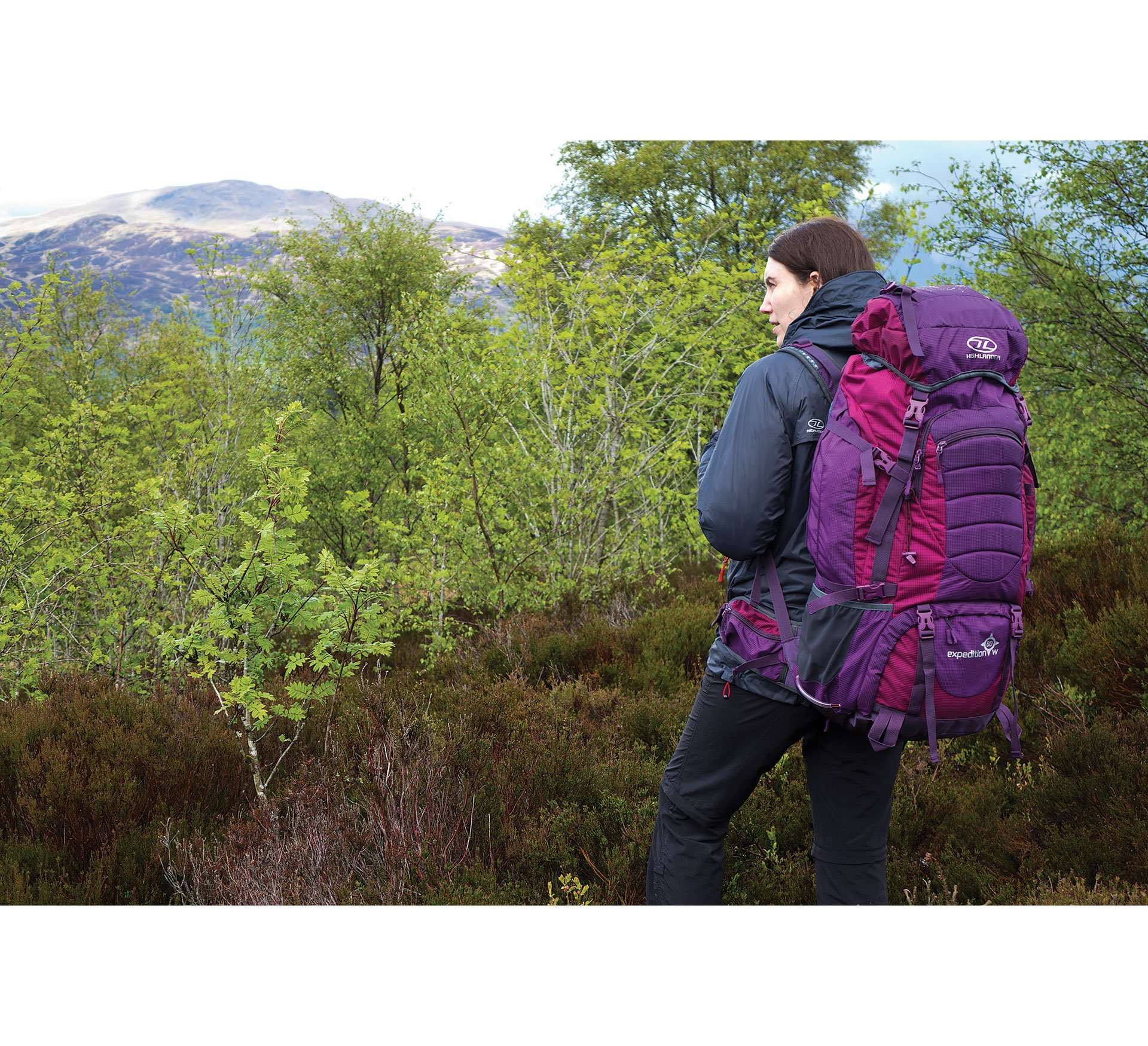 Highlander Expedition Rucksack ꟷ 60L, 65L & 85L Quality Backpack ꟷ Ideal for Hiking, Backpacking, DofE, Scouting Trips ꟷ Men & Women ꟷ Blue, Black, Red & Purple 3