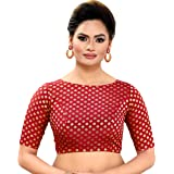 MADHU FASHION WOMEN'S BENARAS BROCADE READYMADE SAREE BLOUSE