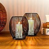 Lanterna Porta Candele Bochee Set di 2 ( Medio & Piccolo ), Lanterne Portacandele da Esterno Candelabro Moderno Nero per la D