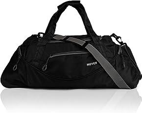 Novex Polyester Travel Duffel Bag, 35L (Black and Grey)