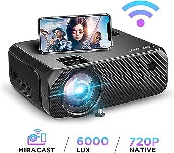 【2020 Upgrade】 Videoprojecteur WiFi 6000 Lux Native 720p Soutien Le projecteur sans Fil BOMAKER Full HD 1080P Max 300 '' Compatible avec iPhone / Android Smart Phone / iPad / Mac / Laptop / PC