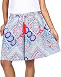 B STORIES Women's Viscose Printed Cullout Shorts