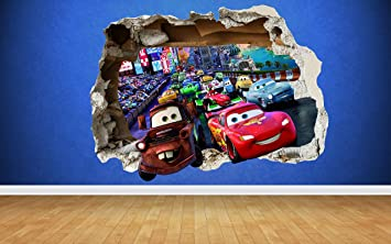 Cars 3D Effect Smashed Wall Sticker, Style Transfer Art Lighting Mcqueen  Mator Bedroom (Large