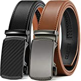 """Mens Belt Gift Set, CHAOREN Leather Ratchet Belt for Men Dress 1 3/8"""" with Automatic Buckle, Adjustable Trim to Exact Fit"""