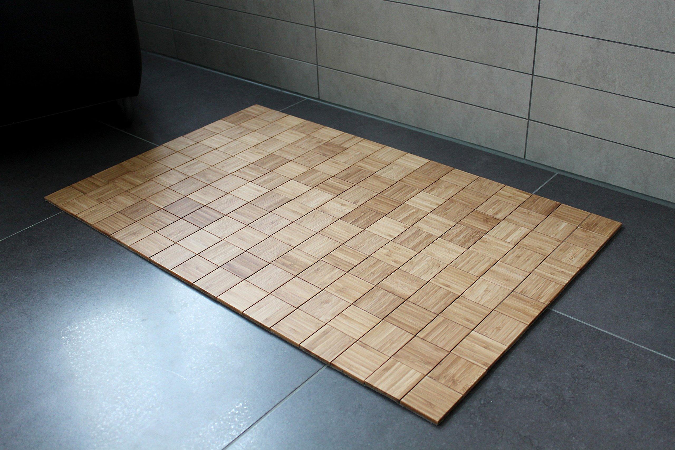 Badteppich Karo Nature Aus Bambus 40x50cm Teppich Rutschfest