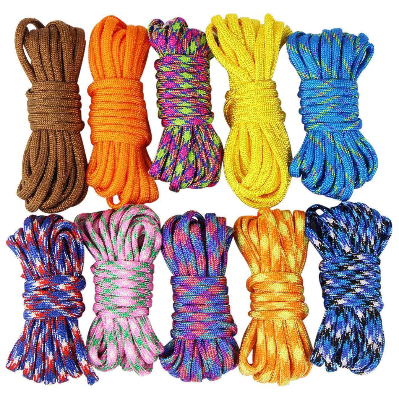 Set de cuerdas de paracaídas Uooom para hacer brazaletes, trenzas, manualidades, acampar, supervivencia, 10 piezas, 3 metros de largo