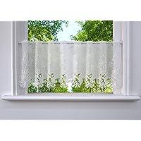 Brise-bise à Broderie Florale en Polyester Transparent Rideau Court Passe Tringle (Hauteur x Largeur/30x150cm, Blanc)