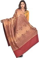 Weavers Villa - Women's Maroon Spray Jaal Woven Kashmiri Shawls, Stoles