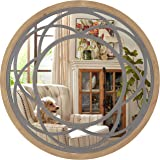 Amazon Brand - Eono Farmhouse Round Wall Mirror 76cm with Wood Frame for Living Room Bedroom Kitchen Entryway Hallway Wall De