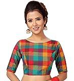 STUDIO Shringaar Women's Multi Coloured Pure Cotton Madras Checks Saree Blouse