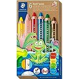 STAEDTLER 140 C6 3-i-1 färgpenna Noris junior (färgpennor, vax- och akvarellpenna, extra okrossbar, perfekt för barn, för mån