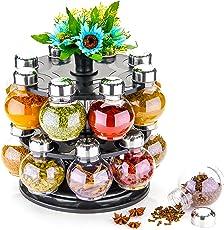 Cronus Plastic Revolving Spices Storage Container Rack Jar, Standard(Black) - Set Of 16