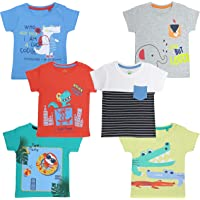 YUV Baby Boys & Girls Printed T-Shirt (Pack of 6) with Shoulder Poppers for 0 to 24 Months